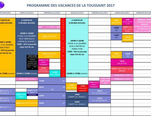 Programme des vacances de la Toussaint 2017