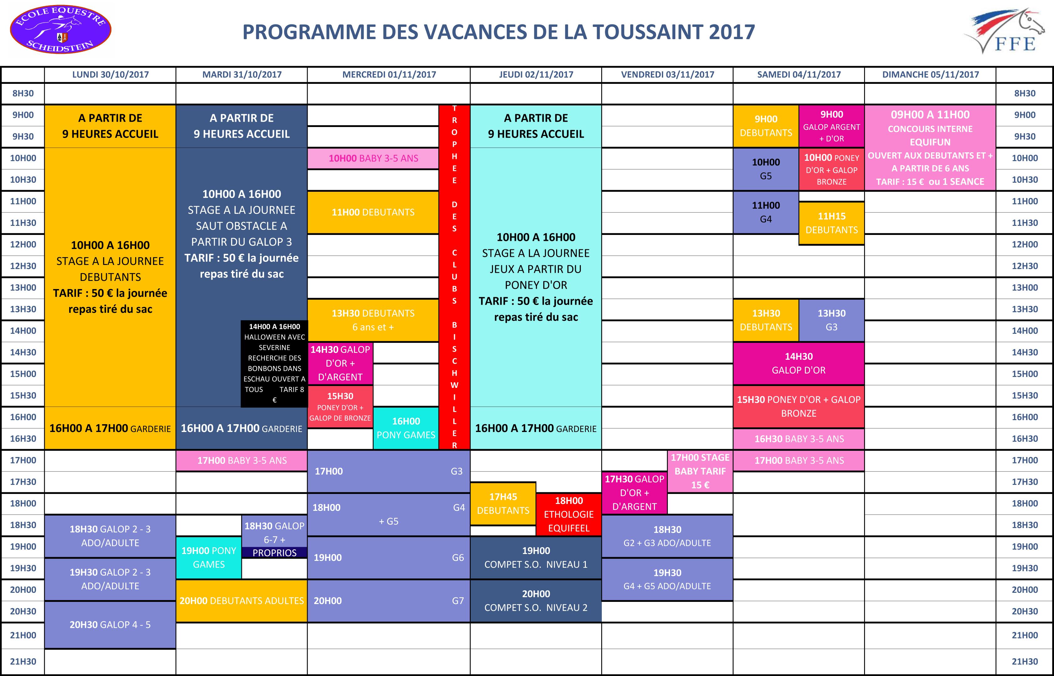 programme vacances Toussaint 2017 semaine 2 école équestre scheidstein STRASBOURG ILLKIRCH ESCHAU PLOBSHEIM
