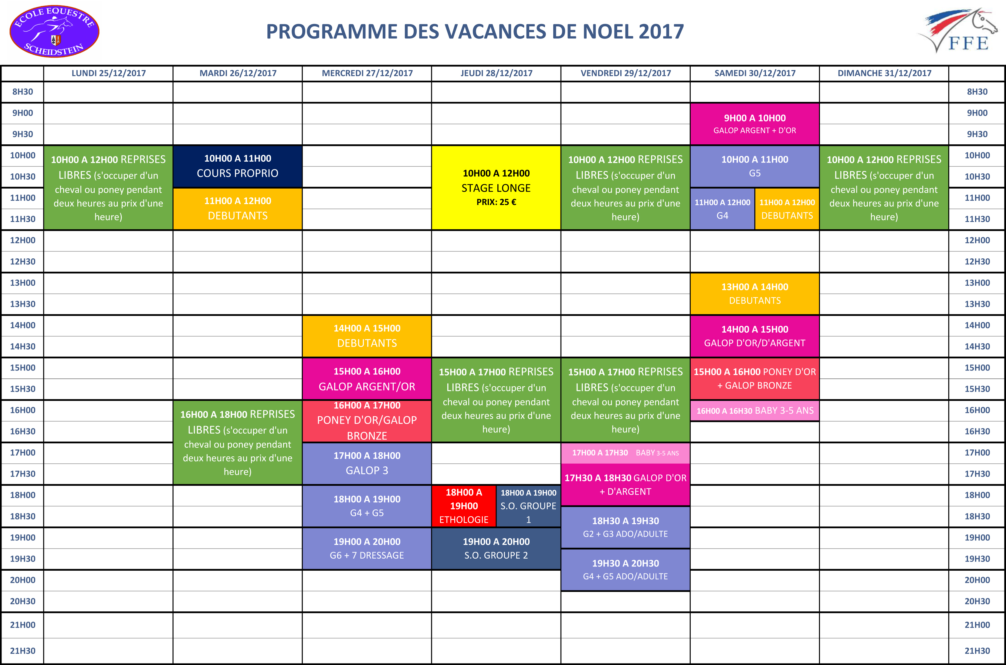programme vacances Noël 2017 semaine 1 école équestre scheidstein STRASBOURG ILLKIRCH ESCHAU PLOBSHEIM