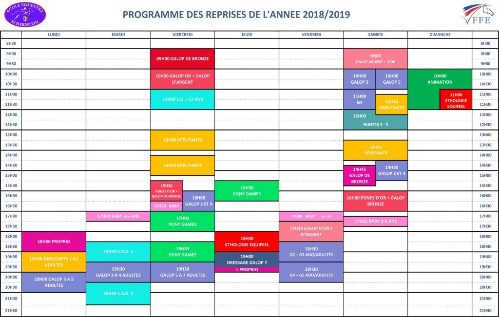 programme reprises 2018-2019 école équestre scheidstein STRASBOURG ILLKIRCH ESCHAU PLOBSHEIM