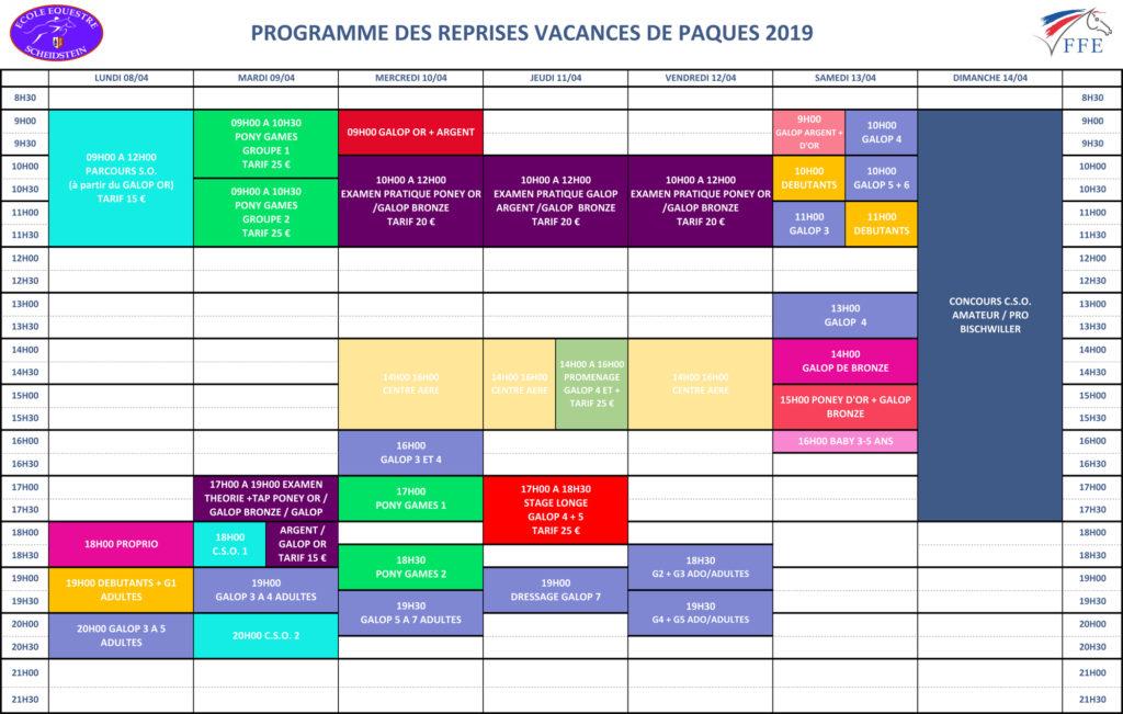 programme vacances Printemps Pâques 2019 semaine 1 école équestre scheidstein STRASBOURG ILLKIRCH ESCHAU PLOBSHEIM