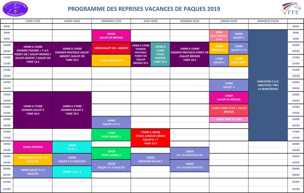 programme vacances Printemps Pâques 2019 semaine 2 école équestre scheidstein STRASBOURG ILLKIRCH ESCHAU PLOBSHEIM