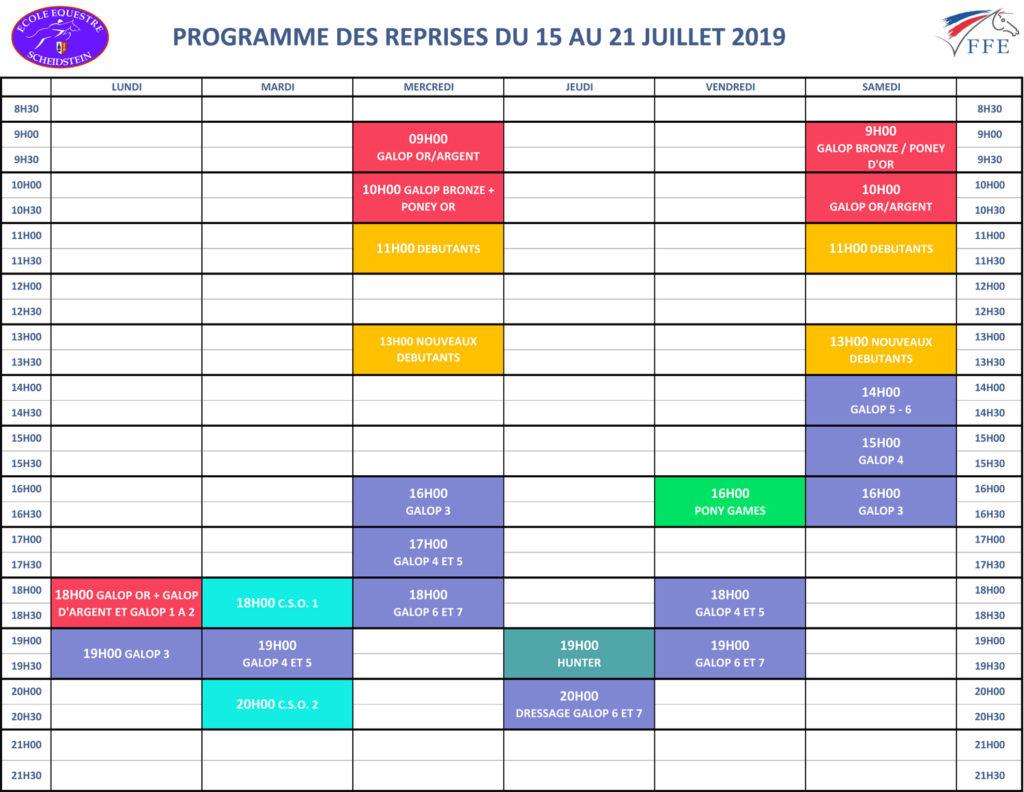 programme vacances été 2019 semaine 2 école équestre scheidstein STRASBOURG ILLKIRCH ESCHAU PLOBSHEIM
