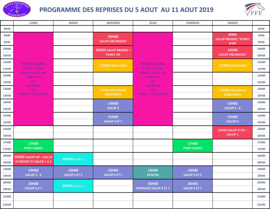 programme vacances été 2019 semaine 5 école équestre scheidstein STRASBOURG ILLKIRCH ESCHAU PLOBSHEIM