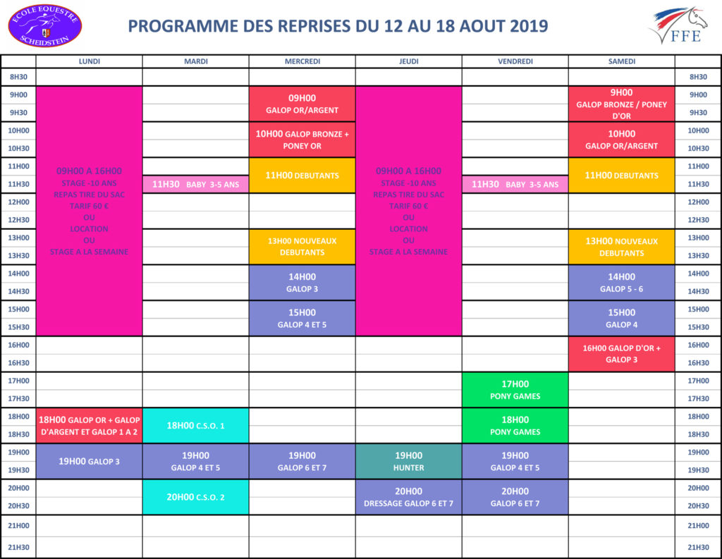 programme vacances été 2019 semaine 6 école équestre scheidstein STRASBOURG ILLKIRCH ESCHAU PLOBSHEIM