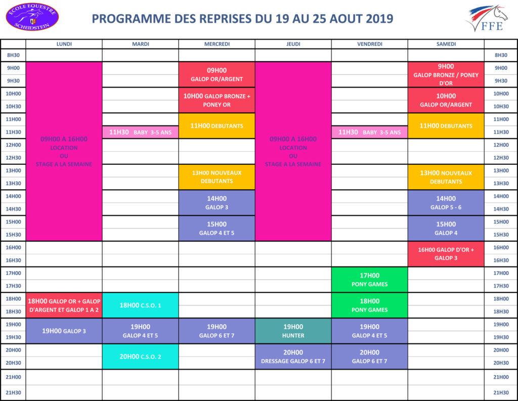 programme vacances été 2019 semaine 7 école équestre scheidstein STRASBOURG ILLKIRCH ESCHAU PLOBSHEIM