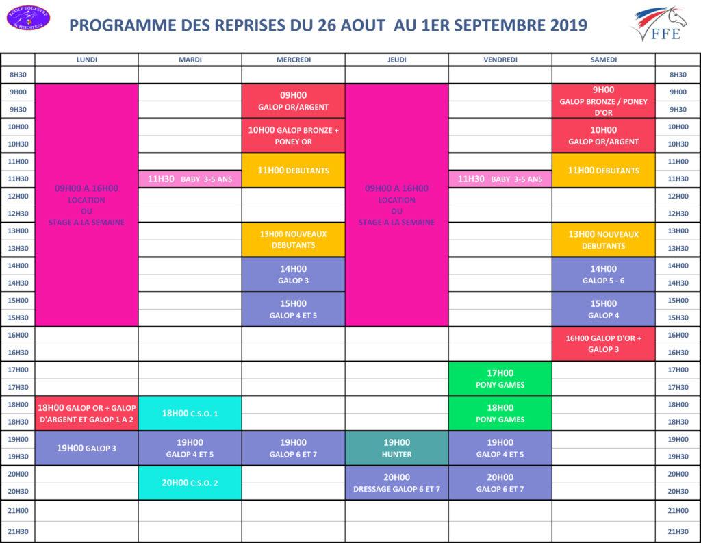 programme vacances été 2019 semaine 8 école équestre scheidstein STRASBOURG ILLKIRCH ESCHAU PLOBSHEIM