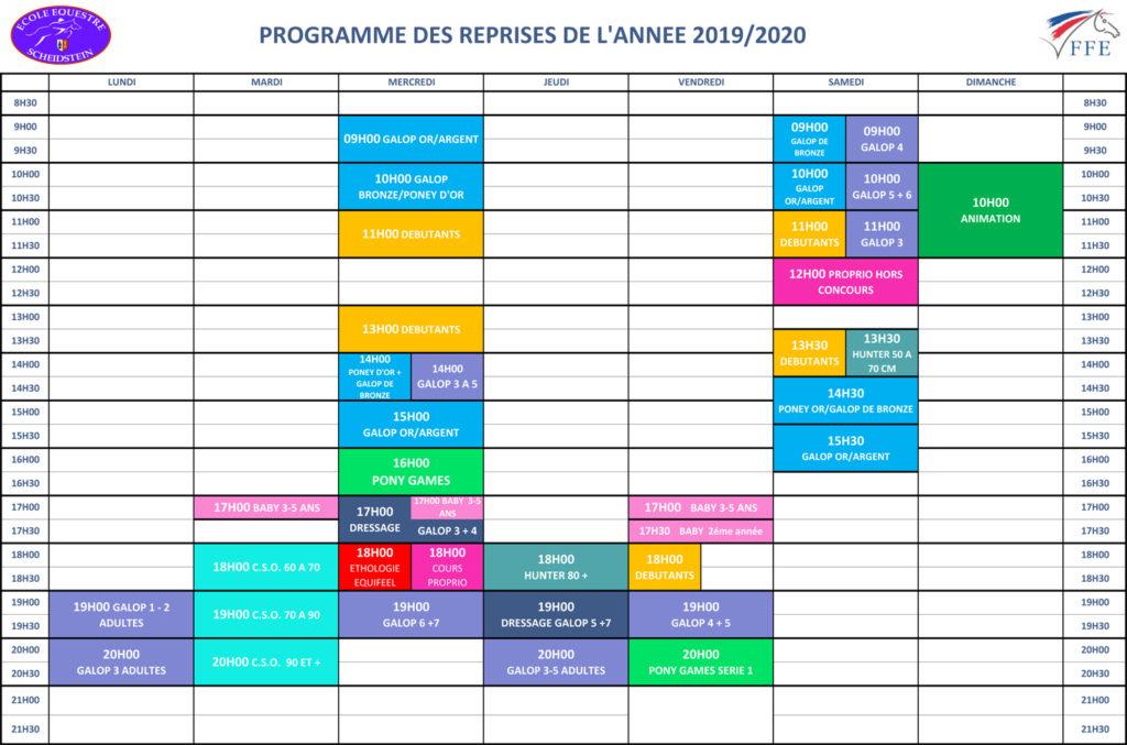 programme reprises 2019-2020 école équestre scheidstein STRASBOURG ILLKIRCH ESCHAU PLOBSHEIM