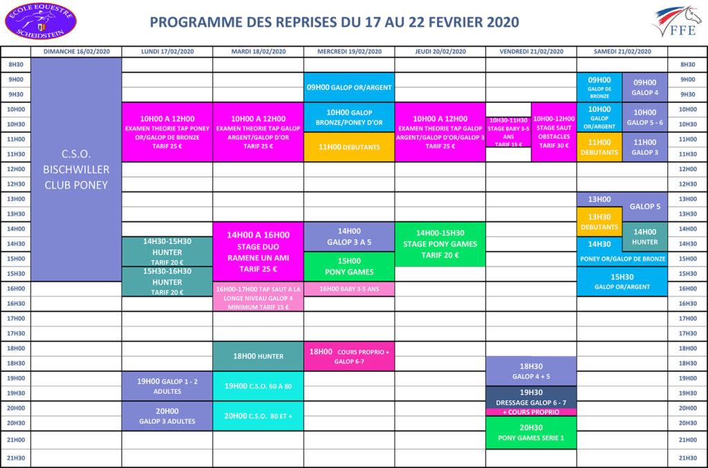 programme vacances hiver février 2020 semaine 1 école équestre scheidstein STRASBOURG ILLKIRCH ESCHAU PLOBSHEIM