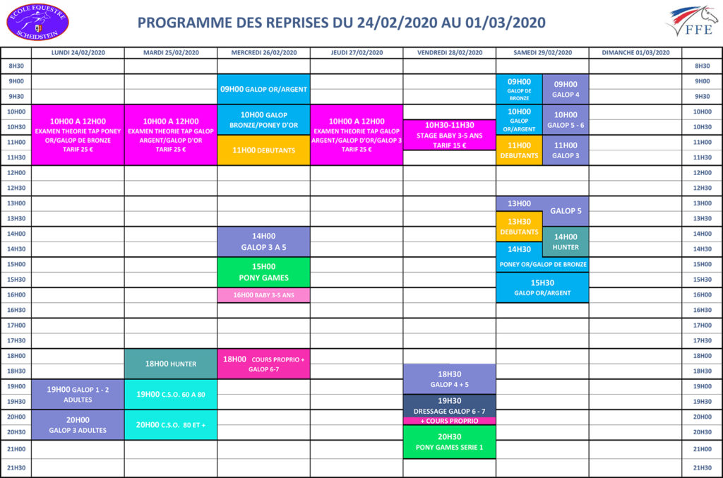 programme vacances hiver février 2020 semaine 2 école équestre scheidstein STRASBOURG ILLKIRCH ESCHAU PLOBSHEIM