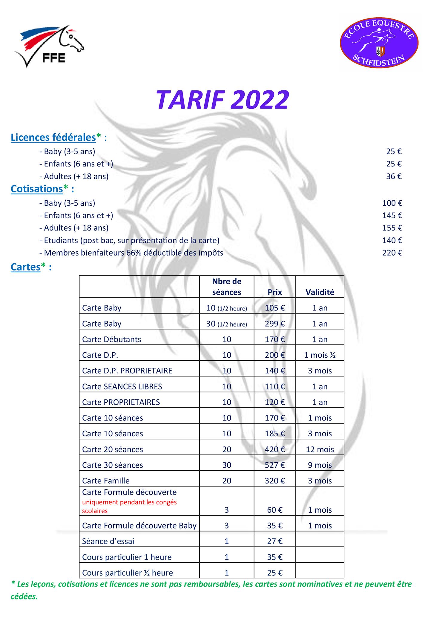 tarifs 2021 2022 1 école équestre scheidstein STRASBOURG ILLKIRCH ESCHAU PLOBSHEIM